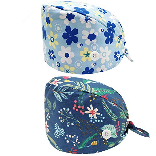 2 Pack Shaped Working Caps with Buttons Upgrade Sweatband Adjustable Bouffant Hats Headwear for Women Men One Size