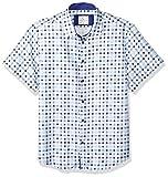 Azaro Uomo Men's Short Sleeve Button Down Shirt Casual Dress Loud Slim Fit, 3 Shades of Blue, XL
