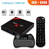 [2018 Newest Android TV Box 4G 64GB+Backlit Wireless Keyboard] EstgoSZ Android Smart 7.1 TV Box RK3328 Support 2.4G/5G Dual Wifi/100M LAN/BT 4.0 /H265/3D 4K UHD TV