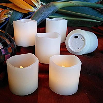 """[Flameless Candles] by LED Lytes, Battery Operated Votive Set of 6 - 2""""x 2"""", Ivory Colored Wax and Amber Yellow Flame, Christmas, Parties, Gifts"""