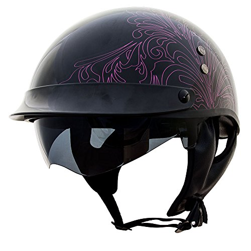 Voss 888FRP Paisley Graphic Hand Laid Fiberglass DOT Half Helmet with Drop Down Sun Lens - XL - Gloss Pink