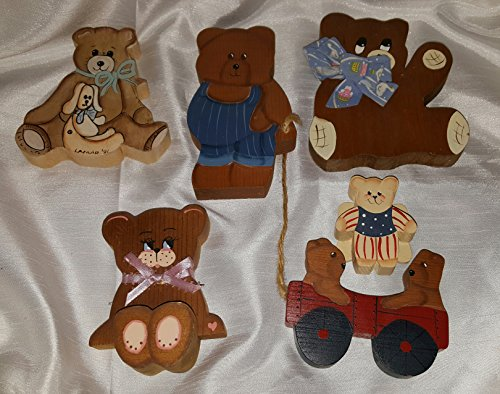 6 pc 3 D Wooden Bear Set Décor Nursery Country Hand Painted Crafted Folk art Signed Dimensional