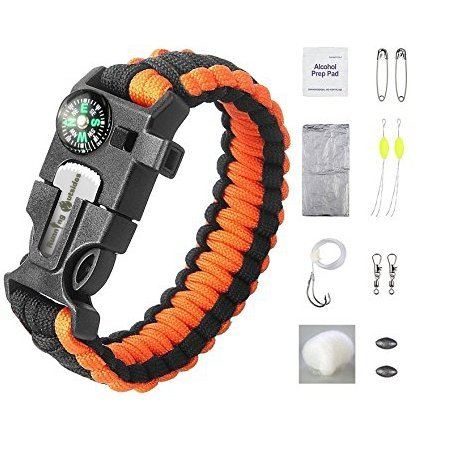 Running-Outsides-Paracord-Survival-Bracelet-16-pieces-Survival-Gear-Kit-With-Paracord-Bracelet-Whistle-Blade-Compass-and-Fire-Starter-and-More