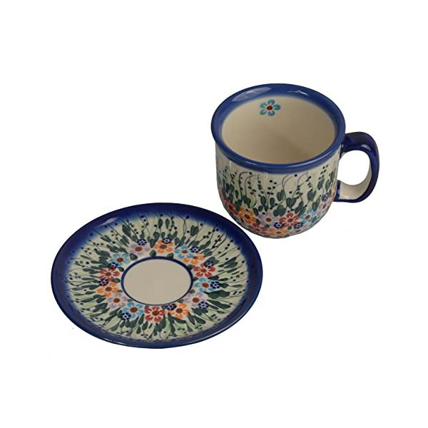 Traditional Polish Pottery, Handcrafted Ceramic Coffee Cup and Saucer 275ml, Boleslawiec Style Pattern, F.201.Daisy