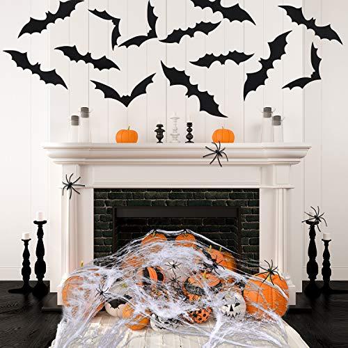 Gejoy Halloween Spiderweb Decorations, 48 Pieces 3D Bats