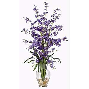 SKB Family Dancing Lady Liquid Illusion Silk Flower Arrangement Purple Home Wedding Party Deco