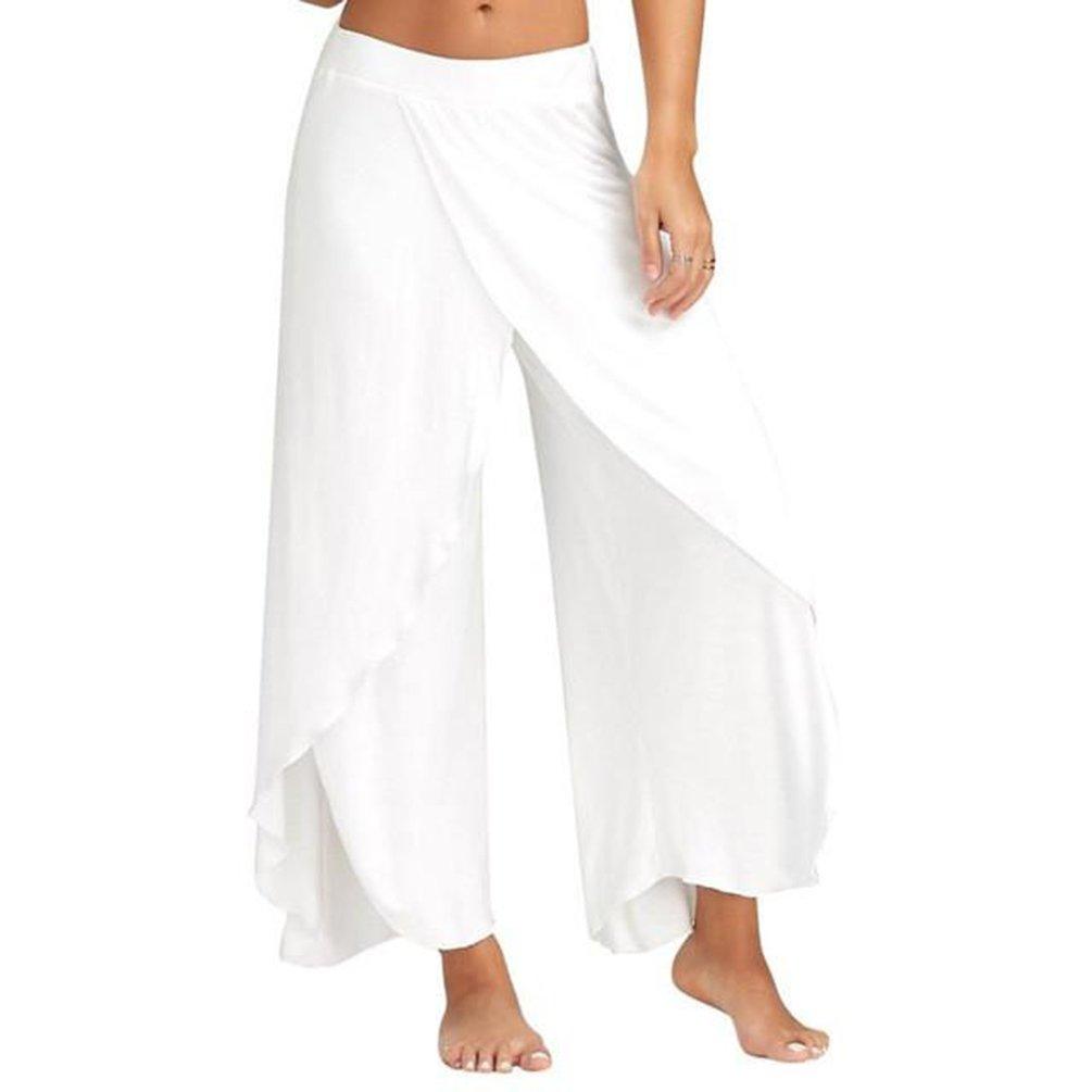 JIANLANPTT Women Beach Loose Long Palazzo Harem Capri Pants Pilates Belly Dancing Pants Summer Trousers White XL