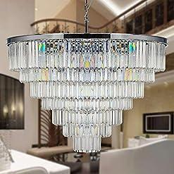 Interior Lighting MEELIGHTING Luxury Crystal Chrome Chandelier Lighting Modern Contemporary Chandeliers Pendant Ceiling Lamp Light Fixture… modern ceiling light fixtures
