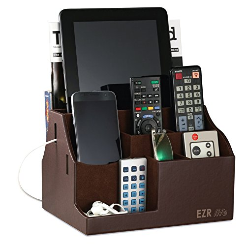 EZR life All-in-One Remote Control Holder, Caddy, Organizer - Brown Leather - also holds Phones, Tablets, Books, E-books, Glasses by EZR life