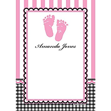 Amazon.com: Dulce pies rosa Baby Shower personalizado Nota ...