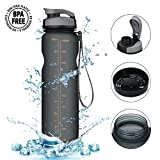 Sports Water Bottle,CAMTOA 36oz Large Premium Water Bottle/Resin Fitness Bottle/With Leak Proof Flip Top Lid/One Click Open-Eco Friendly & BPA Free Tritan Plastic Perfect for Outdoor & Indoor etc Grey