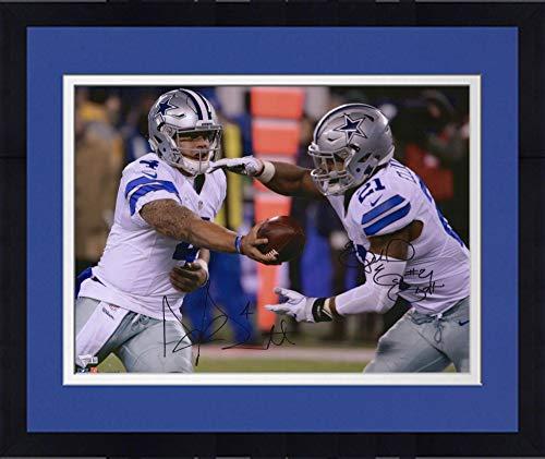 - Framed Ezekiel Elliott and Dak Prescott Dallas Cowboys Autographed 16