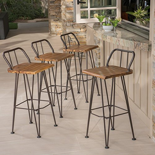 Christopher Knight Home Leonardo Outdoor Industrial Teak Finished Acacia Wood Barstools with Rustic Metal Finished Iron Frame (Set of 4)