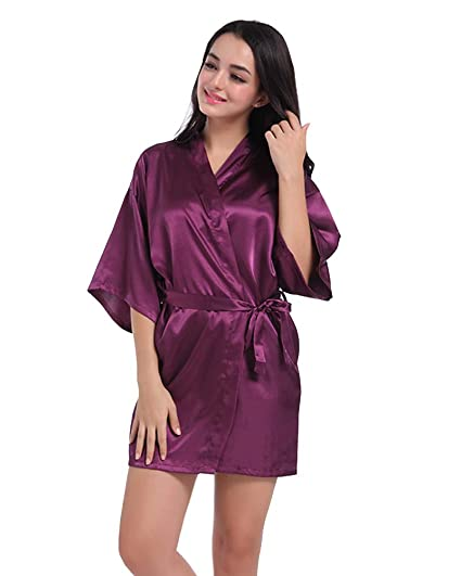 Damas Casual Vintage Retro Estampado en Caliente Ropa de Dormir Sexy Batas y Kimonos de Satén Darkpurple M: Amazon.es: Ropa y accesorios
