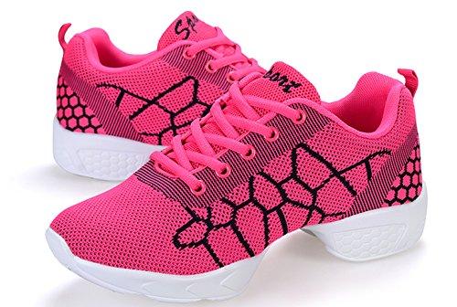 VECJUNIA Damen Athletische Turnschuhe Bequeme Modernen Leichte Mesh Sneakers  Atmungsaktiv Jazz Dance Schuhe Rot ... 57d255c335