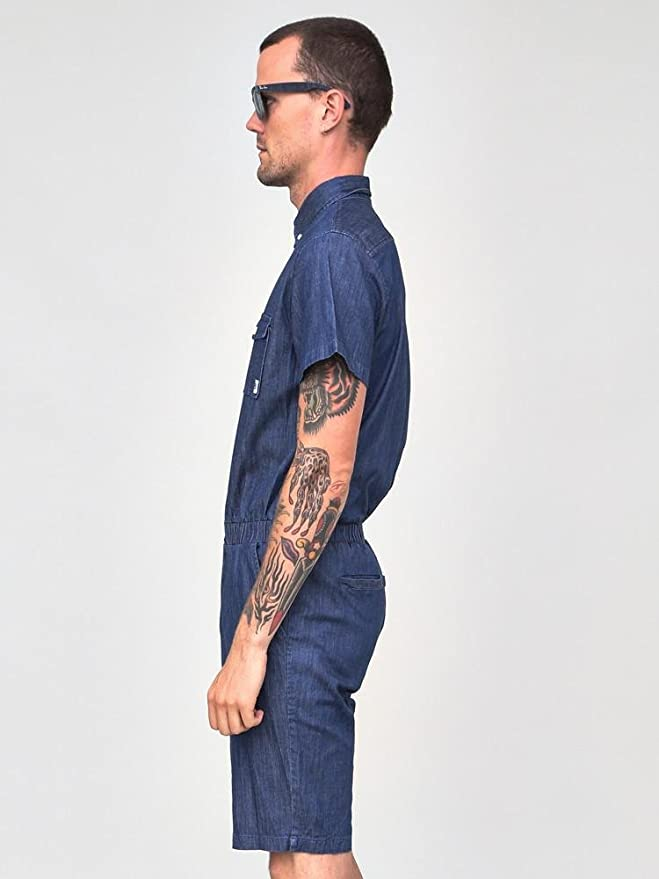 092ec1fb7e3 Standard Issue Chambray Jumpsuit Romper Shorts Med Blue at Amazon Men s  Clothing store