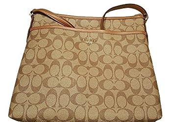 Coach Signature File Bag Crossbody Handbag Khaki Saddle #F58297