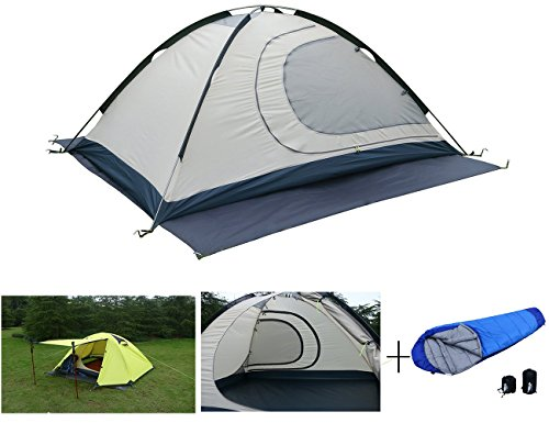 Luxe Tempo 2 Person 4 Season Tents with FREE Sleeping Bag Freestanding for Camping Backpacking Aluminum Poles All Weather Tested & Approved 2 Door 2 Vestibules Reflective