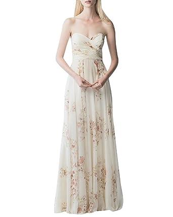 Damen Bandeau Maxi Kleid Blumen Strandkleid Off Shoulder Abendkleid ...