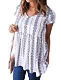 WLLW Women Bohemian Short Sleeve V Neck Floral Print Peplum Shirt Top Blouse Tee Larger Image