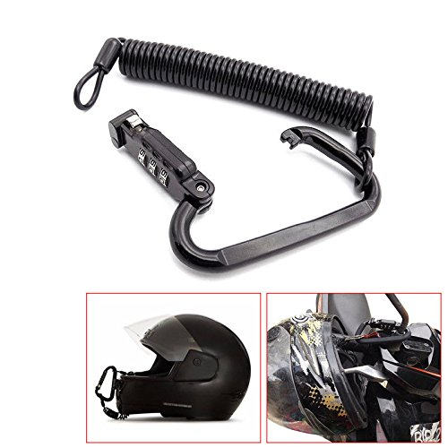 Ting Ao Universal Black Motorcycle Helmet Lock Combination Lock with T-Bar Rubber Classy