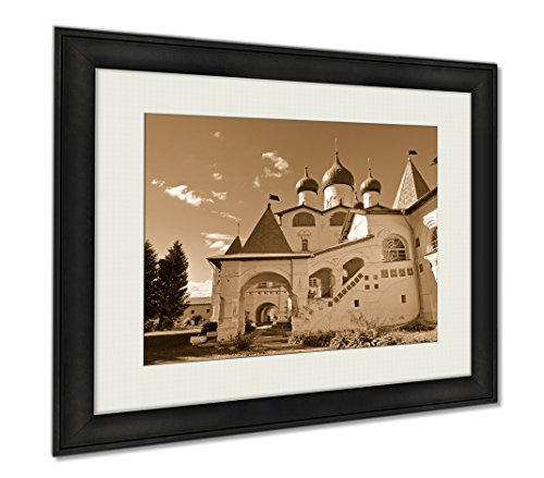 Ashley Framed Prints Architecture Landscape St Nicholas Cathedral In Nicholas Vyazhischsky, Wall Art Home Decoration, Sepia, 26x30 (frame size), AG5756569 by Ashley Framed Prints