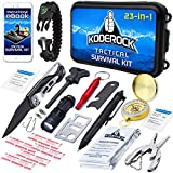Outdoor Tactical Survival Kit - 23 Tools - Knife, Flashlight, Paracord Bracelet, Emergency first aid Blanket - Includes Gear for Camping, Fishing, Hiking for Family on Wilderness Adventures