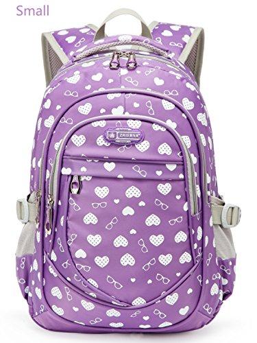 Hearts Print Little Girls School Backpacks For Kindergarten Preschool Kids School Bags Bookbag (Small- Purple) (Girls Backpack)
