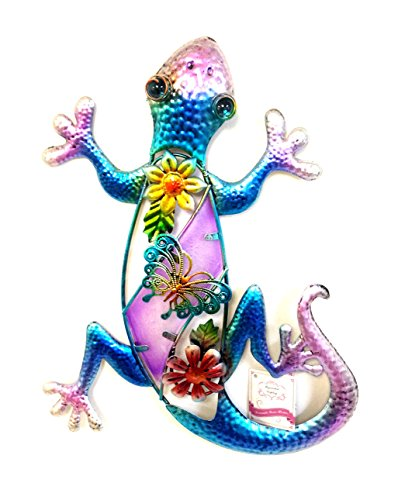 Bejeweled-Display-Purple-Gecko-w-Glass-Wall-Art-Plaque-Home-Decor