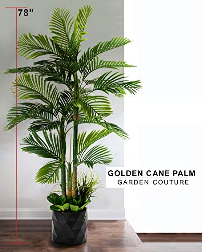 """GARDEN COUTURE Deluxe 78"""" Golden Cane Palm Silk Artificial Tree + Premium Fiddle Leaf Foliage in 8"""" Base + 12"""" Plant Pot Skirt 4"""