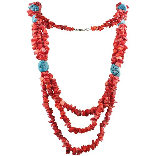 Coral Jewelry - SUNYIK Red Coral Bib Necklace,Tumbeld Stone Beaded Choker,for Women Men Lh04(30