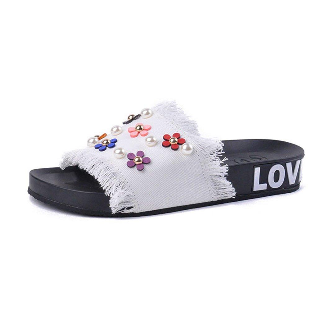 U-MAC Women's Flower Embellished Comfort Slide Sandals, Open Toe Slip On Summer Slipper Shoes