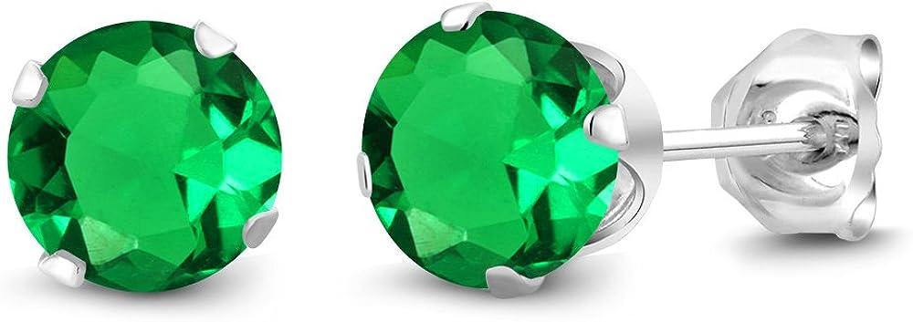 Gem Stone King 925 Sterling Silver Green Nano Emerald Women's Stud Earrings 1.54 Ct Round Jewelry 6MM