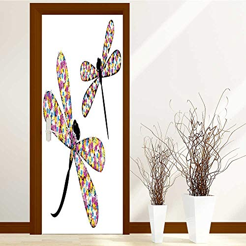 TijakaTechnology Static Cling Glass Film Dragonfly in Flowers Privacy Window Film Decorative Window Film W38.5 x H77 by TijakaTechnology
