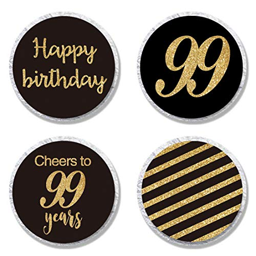 MAGJUCHE Black 99th Birthday Candy Stickers, Woman or Man Gold Glitter 99 Years Birthday Party Favor Labels, Supplies, Decorations