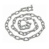 """Extreme Max boattector acero inoxidable ancla de cadena 3/40.6cm X 4', Anchor Chain 3/16""""x4' Stainless"""
