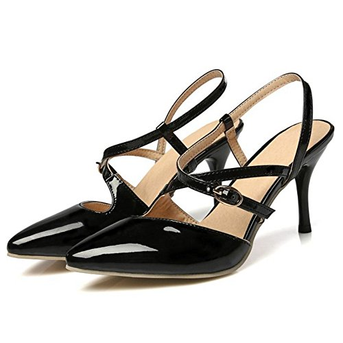 Buckle Women Stiletto Sexy Slingback Cross Black Colors Shoes Size 13 Closed Sandals Toe Shoes 4 US Strap 1 Smilice vqEYdv