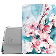 MoKo Case for iPad Mini 3 / 2 / 1, Ultra Slim Lightweight Smart-shell Stand Cover with Translucent Frosted Back Protector for Apple iPad Mini 1 / Mini 2 / Mini 3, Peach Blossom (with Auto Wake/ Sleep)