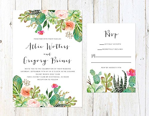 Desert Wedding Invitation, Cactus and Succulent Invitation, Arizona Invitation, Palm Springs Invitation by Alexa Nelson Prints