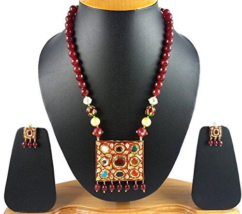 Aradhya Big Girls Designer Kundan Work Onyx Stone Necklace