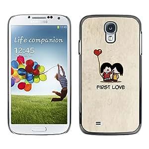 TopCaseStore / la caja del caucho duro de la cubierta de protección de la piel - Cartoon Minimalist Beige Cute Heart - Samsung Galaxy S4 I9500