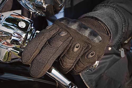 Indie Ridge Powersports Gloves, Pro-Biker Carbon Fiber Powersports Racing Gloves with Touch Screen Fingertips (Medium)