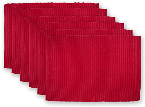 DII 100% Cotton Ribbed Everyday Basic Placemat (Set of 6), 13 x 9, Cardinal Red