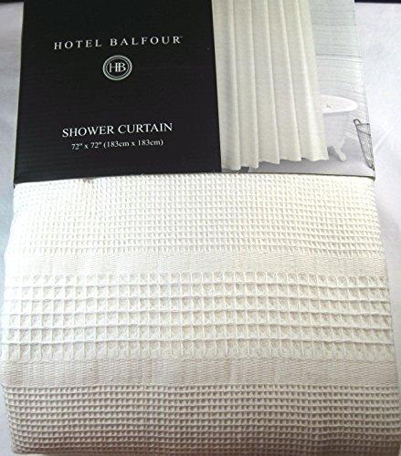 Hotel Balfour Premium Quality White Fabric Shower Curtain Assorted Geometric Squares 100 Cotton 72 X
