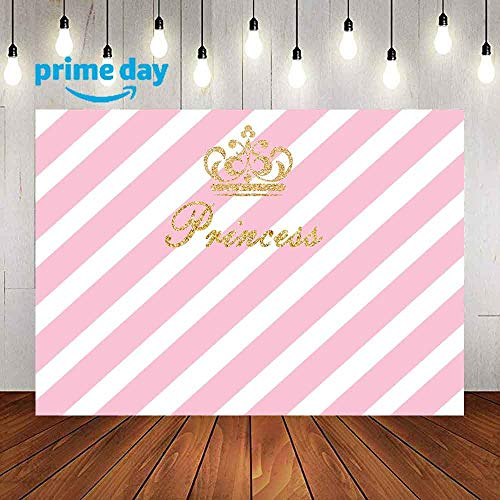 LUCKSTY Royal Princess Pink Birthday Backdrops for Photography 9x6FT Girl Baby Party Banner Photo Backgrounds Wall Paper Photo Booth Props LULF559 -