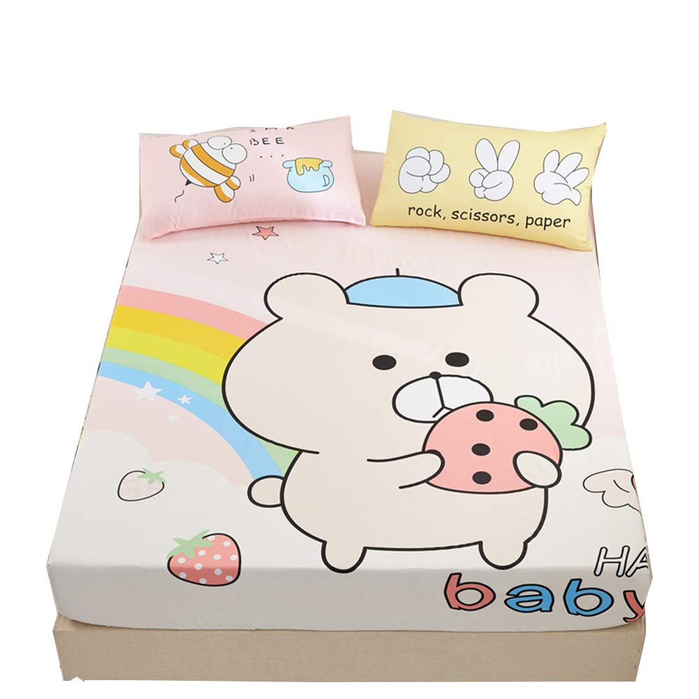 ORIHOME Fitted Sheet 100% Cotton Cartoon Anime Printing Fitted Sheet Bedding Children Baby Teens Girl Bedding SBN (Rainbow Bear,Beige, Full1 Fitted Sheet)