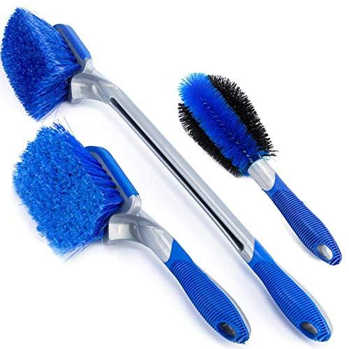 Leisuretime 3 Set Car Wheel Brushes Long Handle Brush Rims Wheel Brush, Special Brush Rims for Cleaning Rims Car Motorcycle Bike ()