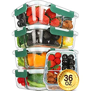Glass Meal Prep Containers [5-Pack,36oz] - KOMUEE Food Prep Containers 3 Compartment with LIFETIME Lids Meal Prep - Glass Food Storage Containers Airtight - Lunch Containers Portion Control Containers