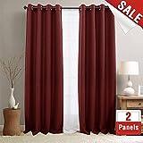 jinchan Linen Fabric Curtains for Living Room Darkening Grommet Curtain Panels Blackout Drapes for Bedroom, 2 Panels (95', Burgundy Red)