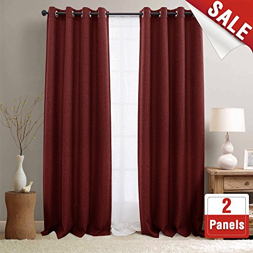 Linen Textured Curtains for Living Room Curtain Panel Room Darkening Window Curtains Grommet Blackout Drapes for Bedroom Window Treatment Set 1 Pair (84 Inch, Burgundy (Red Window Treatment)